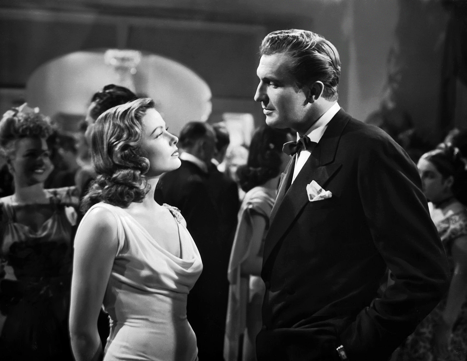 1944: Vincent Price and Gene Tierney in the roles of Shelby Carpenter and Laura respectively, in a scene from the 20th Century Fox film noir, 'Laura', directed by Otto Preminger.